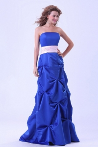 Royal Blue Prom Dress With Pink Sash Pick-ups Floor Length