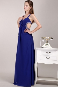 Blue Straps Pageant Celebrity Dress Chiffon Beading