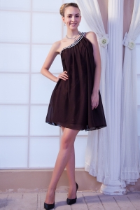 Brown One Shoulder Prom/Maxi Dress Mini-length Beading Chiffon