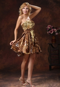 Leopard Sequins Nightclub/Cocktail Dress Mini-length Brown