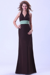 Halter Brown Prom Dress With Belt Chiffon Open Back Floor-length