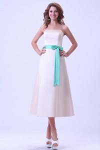 Champagne Bridemaid Dress With Turquoise Sash Satin Tea-length
