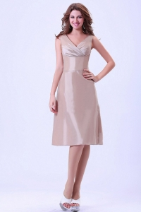 Champagne V-neck Prom Dress With Knee-length
