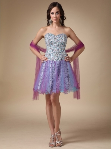 Colorful Prom Homecoming Dress Mini-length Leopard