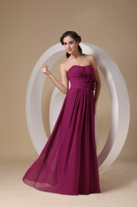 Strapless Fuchsia Bridesmaid Dress Hand Made Flower Ruch