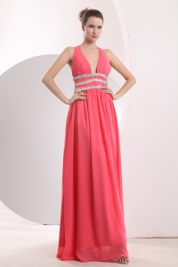 Halter Prom Pageant Dress Coral Red Chiffon Beading Empire