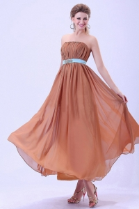 Red Prom Blue Belt and Ruching Chiffon Ankle-length