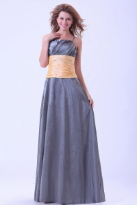 Spaghetti Straps Prom Dress Dark Grey With Ruching Sash