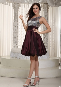 One Shoulder Nightclub/Cocktail Dress Dark Purple Taffeta Sequin