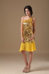 One Shoulder Sequin Chiffon Nightclub/Homecoming Dress Gold Beading