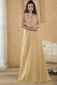 Beading Prom/Maxi Dress High Neck Floor-length Chiffon Empire