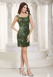 Sequin Beading Nightclub/Cocktail Dress Square Mini-length Green