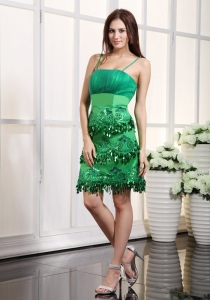 Appliques Nightclub/Cocktail Dress Green Straps Mini-length Satin