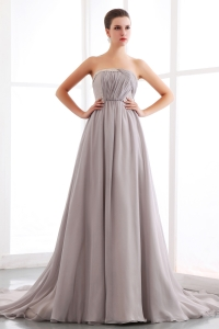 Strapless Prom/Maxi Dress Grey Chiffon Court Train Ruching