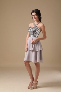 Chiffon Sequin Nightclub/Homecoming Dress Grey Sweetheart Mini-length