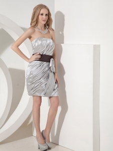 Nightclub/Graduation Dress Ruched Silver Strapless Mini-length
