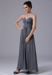 Grey Homecoming Bridesmaid Dress Chiffon Ankle-length Sweetheart