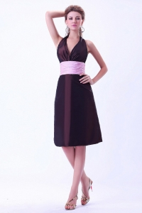 Halter Prom Dress Brown With Pink Belt Taffeta Knee-length
