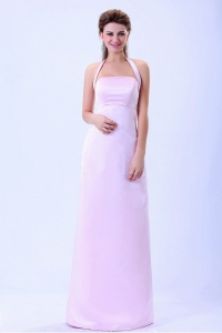 Halter Column Baby Pink Bridemaid Dress Satin