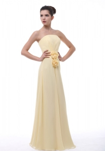 Bridesmaid Dress Hand Made Flowers Light Yellow Strapless