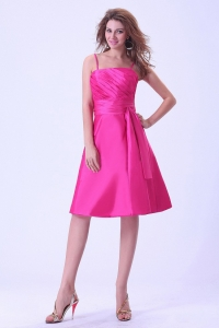 Spaghetti Straps Bridemaid Dress Hot Pink Knee-length Ruching