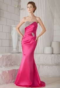 Hot Pink Trumpet Pageant Celebrity Dress Brush Train Beads