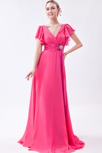 Chiffon Ruch Prom/Maxi Dress Hot Pink V-neck Brush Train Empire