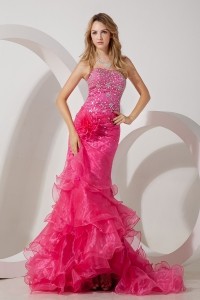Hot Pink Celebrity Dress Mermaid Strapless Organza Beading Brush Train