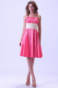 Hot Pink Prom / Homecoming Dress With Ruched Sash Knee-length