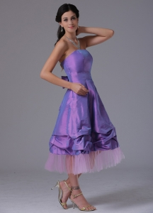 Lavender Bridesmaid Dress Strapless Tea-length A-line Tulle Taffeta