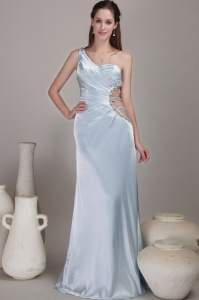 One Shoulder Pageant Evening Dress Beading Light Blue