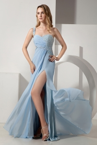 Light Blue One Shoulder Beading Ruch Pageant Celebrity Dress