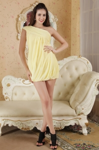 Light Yellow Prom/Maxi Dress One Shoulder Mini-length Chiffon Ruch