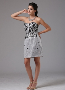 Silver RhineStones Mini-length Nightclub Dress Mini-length