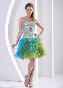 Ruffled Layers Nightclub/Graduation Dress Multi-color Sequin