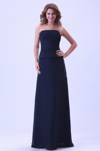 Navy Blue Strapless Prom Dress Chiffon Floor-length