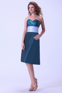 Sweetheart Bridemaid Dress Peacock Green Knee-length Taffeta
