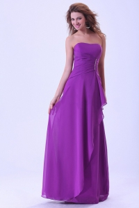 Bridemaid Dress Purple Strapless Chiffon Floor-length Ruch