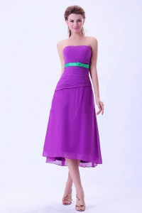Purple Chiffon Bridemaid Dress Green Belt Tea-length Ruch