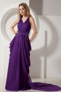 Halter Prom Dress Eggplant Purple Chiffon Beading Empire