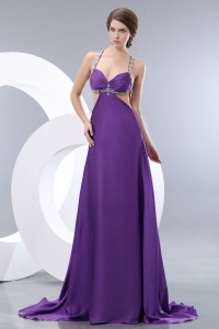 Prom Pageant Dress Beaded Straps Purple Empire Brush Train