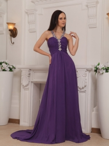 Purple V-neck Chiffon Beading Ruch Prom Pageant Dress