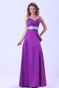 Purple Mother Of The Bride Dress With Spaghetti Straps Belt