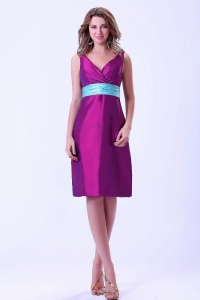 Taffeta Purple Prom / Homecoming Dress V-neck With Blue Belt