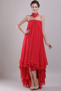 Red Maxi/Celebrity Dress Strapless High-low Beaded Embroidery