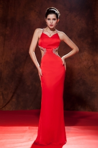 Red Beaded Prom Pageant Dress Straps Brush Train Chiffon
