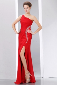 One Shoulder Pageant Celebrity Dress Red Column Chiffon Beading