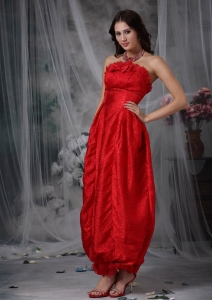 Red Strapless Maxi/Celebrity Dress Ankle-length Ruching