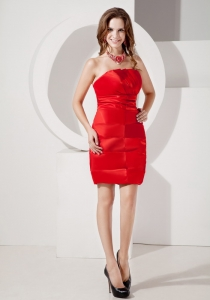 Red Strapless Mini-length Taffeta Ruch Nightclub Dress