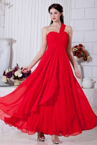 One Shoulder Ankle-length Prom/Maxi Dress Red Chiffon Empire Ruch